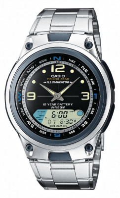 Casio Standard férfi karóra, AW-82D-1AVDF, Sportos, Ana-digi, Nemesacél