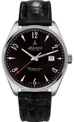 """Atlantic  Worldmaster """"ART DECO"""" férfi karóra, 51752.41.65S, Klasszikus, Automata, Bőr"""