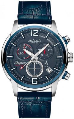 Atlantic Seasport Chronograph férfi karóra, 87461.47.55, Sportos, Kvarc, Bőr