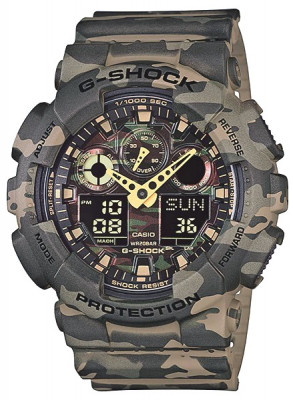Casio G-Shock férfi karóra, GA-100CM-5A, Sportos, Ana-digi, Műanyag
