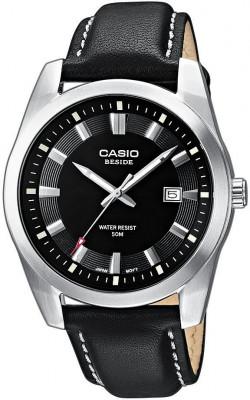 Casio Beside férfi karóra, BEM-116L-1A, Divatos, Kvarc, Bőr