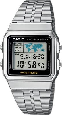 Casio Retro unisex  karóra, A500WEA-1EF, Sportos, Digitális, Nemesacél