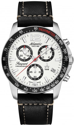 Atlantic Seasport Chronograph férfi karóra, 87463.41.21, Sportos, Kvarc, Bőr