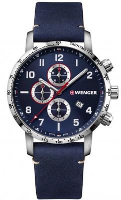 Wenger Attitude Chronograph férfi karóra, 01.1543.109, Sportos, Kvarc, Bőr