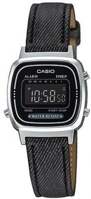 Casio Retro női karóra, LA670WL-1B, Sportos, Digitális, Bőr