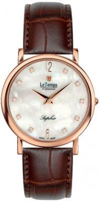 Le Temps Zafira Slim Swarovski női karóra, LT1085.55BL52, Elegáns, Ronda, Bőr
