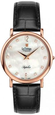 Le Temps Zafira Slim Swarovski női karóra, LT1085.55BL51, Elegáns, Ronda, Bőr