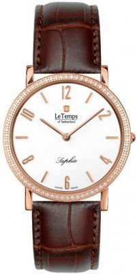 Le Temps Zafira Slim Swarovski női karóra, LT1086.51BL52, Elegáns, Ronda, Bőr