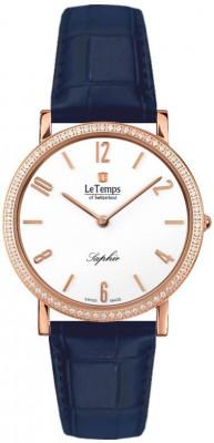 Le Temps Zafira Slim Swarovski női karóra, LT1086.51BL53, Elegáns, Ronda, Bőr