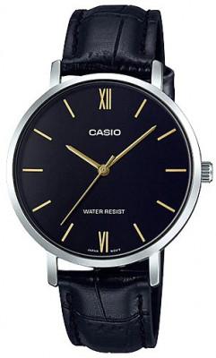 Casio Enticer női karóra, LTP-VT01L-1B, Divatos, Kvarc, Bőr