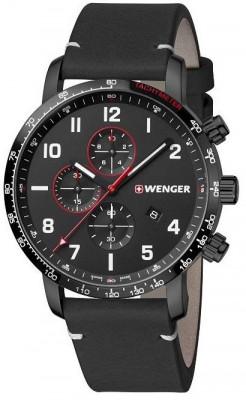Wenger Attitude Chronograph férfi karóra, 01.1543.106, Sportos, Kvarc, Bőr