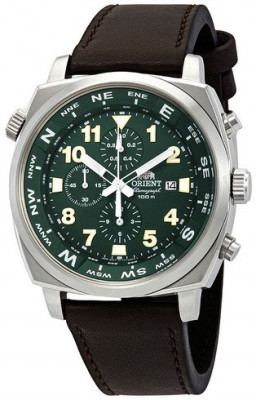Orient Pilot Chronograph férfi karóra, FTT17004F0, Sportos, Kvarc, Bőr