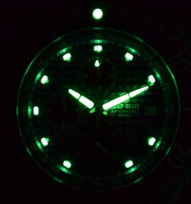 Deep Blue AP Chronograph All Purpose Diver férfi karóra, APCHRONOBLACK, Búvár, Kvarc, Szilikon