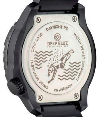 Deep Blue Daynight Pc férfi karóra, DAYNIGHTPC2BLUEBLACKSILICON, Búvár, Kvarc, Szilikon