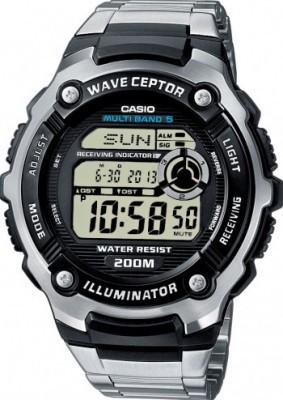 Casio Wave Ceptor férfi karóra, WV-200DE-1A, Sportos, Rádiójeles, Acél