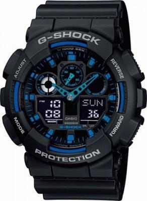 Casio G-Shock férfi karóra, GA-100-1A2ER, Sportos, Ana-digi, Műanyag