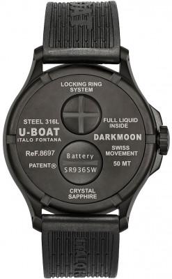 U-Boat Darkmoon Red IPB Soleil 44mm férfi karóra, 8697, Sportos, Kvarc, Gumi