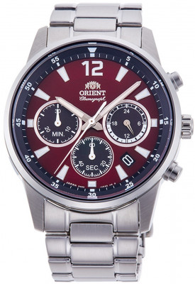 Orient Sporty Chronograph férfi karóra, RA-KV0004R10B, Divatos, Kvarc, Nemesacél
