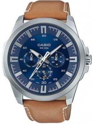Casio Standard Smooth Second férfi karóra, MTP-SW310L-2A, Divatos, Kvarc, Bőr